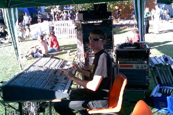 Standin Sandy Gunn at the Carrington Unitech opening concert. Mixing.